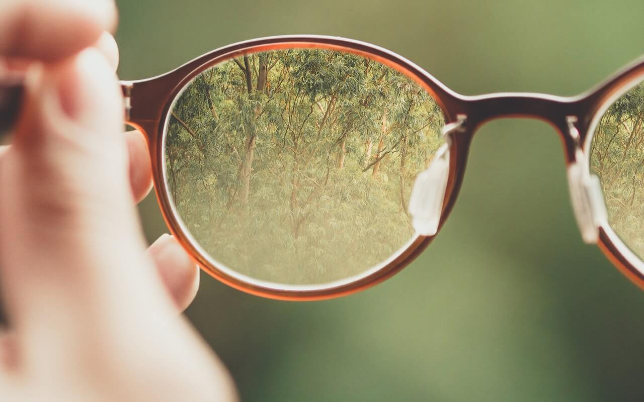 glasses refractive error clear forest through lens of glasses
