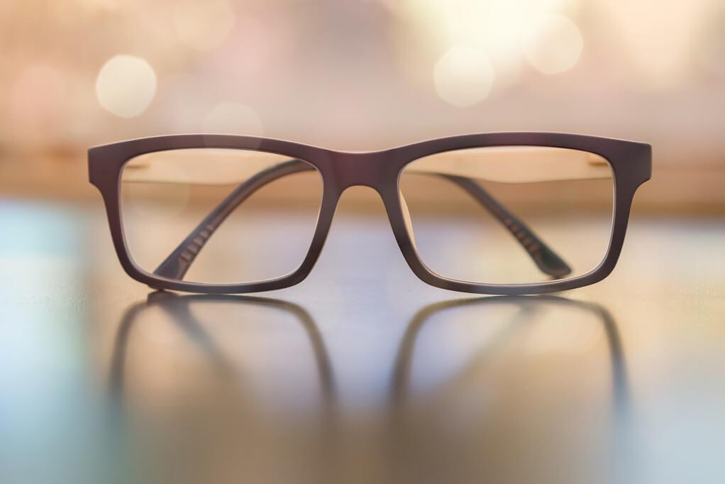 glasses sitting on table presbyopia